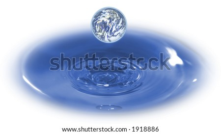 Concept photo of a planet emerging from a pool of liquid.  Please note that the planet was computer generated, but the water is real.