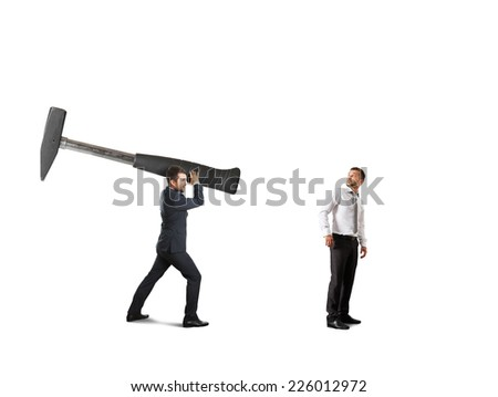 concept photo of conflict between businesspeople. amazed businessman turning around and looking at big hammer. isolated on white background - stock photo
