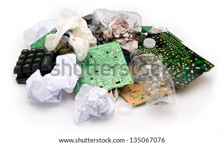 Concept photo showing digital computer parts discarded in garbage pile - stock photo