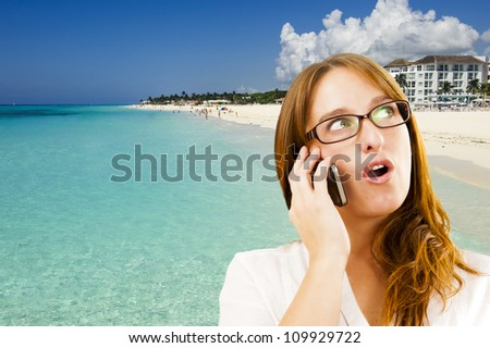 Concept picture of a young red hair woman planning and dreaming her vacations - stock photo