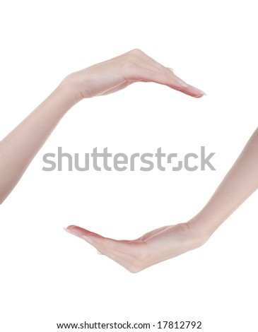 concept picture of two hands on the white background