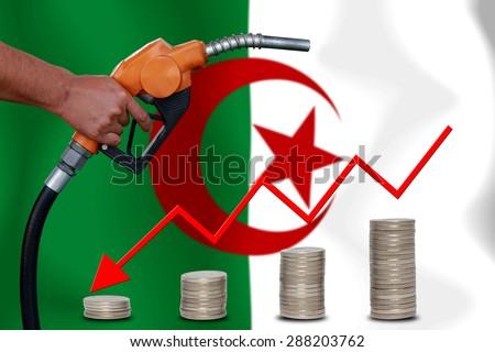 Concept Price of Gas or oil on Algeria flag background. - stock photo