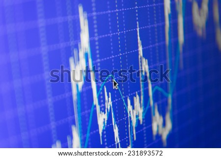 Concept profit gain. Ticker board blue. Real time stock exchange. Finance trade data analysis. Stock market chart on green background. Stock profit graph for diagram. Stock data live on-line.