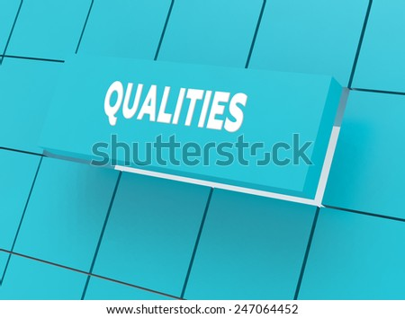 Concept QUALITIES - stock photo