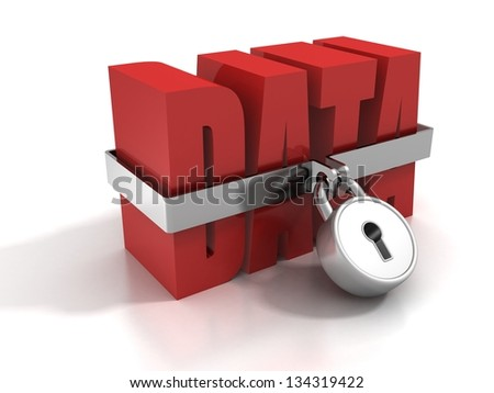 concept red data text locked by padlock - stock photo