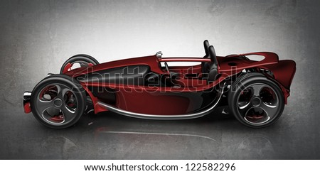 Concept red sport car (roadster) (No trademark. This car is my own design) High resolution 3d render - stock photo