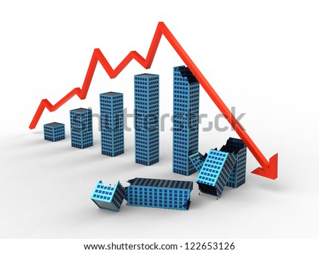 Concept Render of Real Estate Bubble - stock photo
