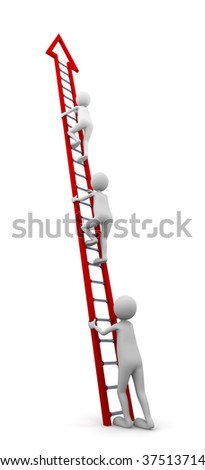 Concept representing a beginner to start climbing a ladder to follow the others - stock photo