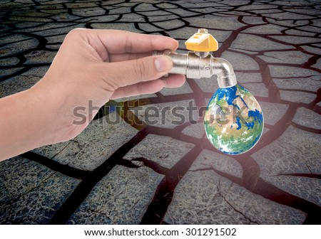 Concept save waters for earth, Background Drought, soil broken. (Elements of this image furnished by NASA) - stock photo