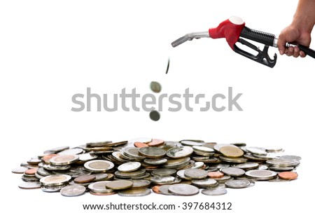 Concept saving Hand holding fuel nozzle pouring thai coin isolated in white background - stock photo