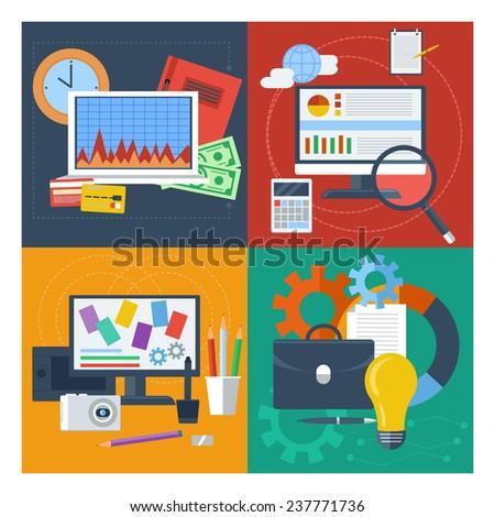 Concept set for financial accounting, marketing management, web design, data analytics flat design. Raster version - stock photo