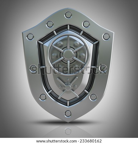 Concept. Shield depicting protection with a Banking metallic door. High resolution 3D