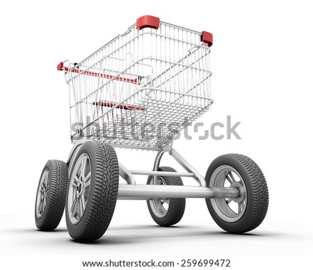 Concept shopping cart with car wheels isolated on white background. 3d illustration. - stock photo