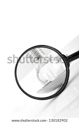 Concept shot: idea lamp inside of a spoon through magnifier/Looking for ideas