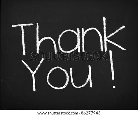 "Concept shot of a Real Blackboard with the text ""Thank You!"". - stock photo"