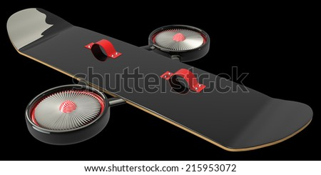Concept. Skateboard turbine engines. isolated on black background 3d illustration. high resolution - stock photo