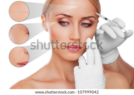 concept skincare. Skin of beauty young woman before and after the procedure - stock photo