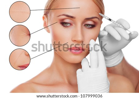 concept skincare. Skin of beauty young woman before and after the procedure on a gray background - stock photo