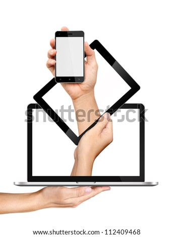 Concept smartphone tablet pc and laptop in hands Isolated on white background