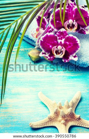 Concept Spa on the tropical resort or a summer holidays on a tropical resort (toning) - stock photo