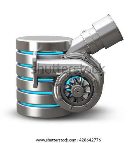 concept. steel hdd turbocharger of car isolated on white background. High resolution 3d
