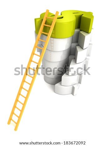 Concept success ladder to top green Dollar symbol. Business achivement money earning 3d render illustration - stock photo