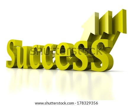 concept success text letters with growing green arrows background - stock photo