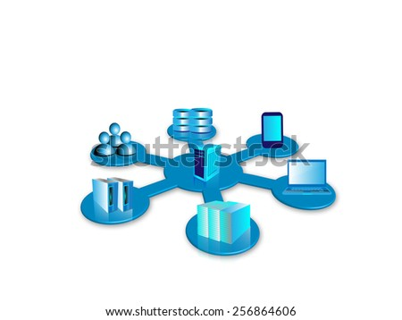 Concept System integration. Connecting various applications like enterprise,legacy,database,mobile applications are connected to a single centralized system in hub and spoke topology - stock photo