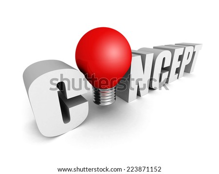 CONCEPT text word with red light bulb. 3d render illustration - stock photo