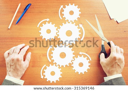 Concept the operation of a complex mechanism. Abstract image - stock photo