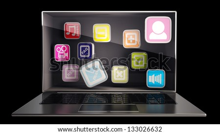 CONCEPT thin laptop with the three-dimensional screen and APPs inside. isolated on black background High resolution 3D - stock photo