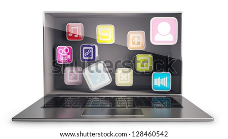 CONCEPT thin laptop with the three-dimensional screen and APPs inside. isolated on white background  High resolution 3D - stock photo