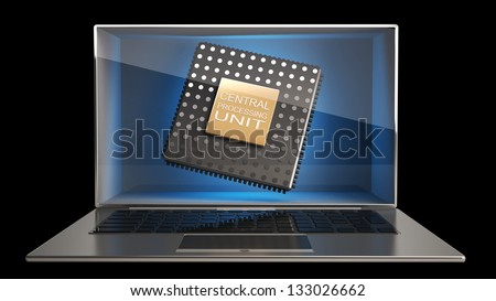 CONCEPT thin laptop with the three-dimensional screen and CPU inside. isolated on black background High resolution 3D - stock photo
