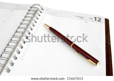 Concept time management, isolated diary and pen on a white background - stock photo