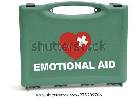Concept to illustrate an emotional rescue package, using a first aid box.