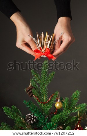 concept tree for celebrating the New Year and Christmas, decorating the Christmas tree with a crown, vertical photo