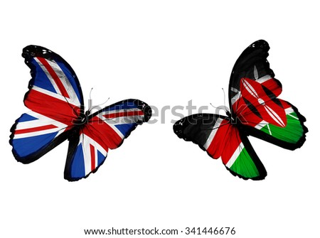Concept - two butterflies with UK and Kenya flags flying - stock photo