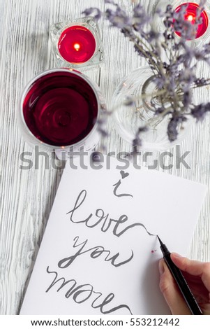 concept Valentine's Day love letter wooden background top view