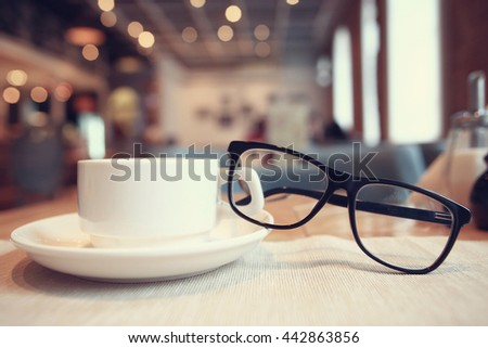 concept vision glasses, breakfast - stock photo
