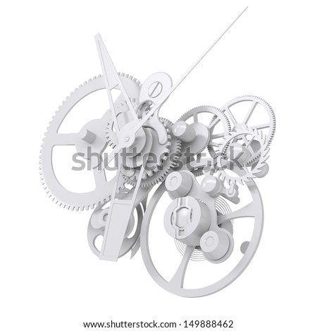Concept watch mechanism. Isolated render on white background - stock photo