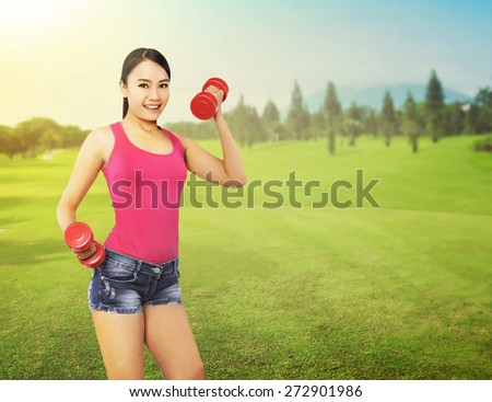 Concept woman exercise outdoor in summer time - stock photo