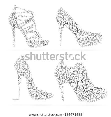 Concept women's shoes created from the words SHOES in different languages. May be user for laser cutting.