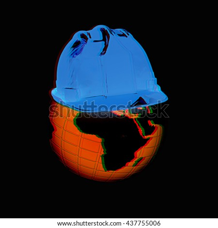 "Concept: ""Worldwide building company"" on a black background. 3D illustration. Anaglyph. View with red/cyan glasses to see in 3D. - stock photo"