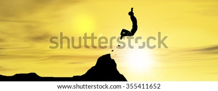 Concept young 3D man or businessman silhouette jump happy from cliff over  gap sunset or sunrise sky background banner as metaphor to freedom, nature, mountain, success, free, joy, health risk