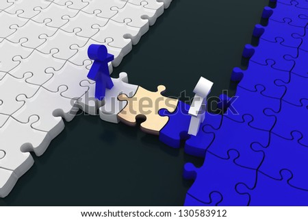 conception is business of connections, teamwork and cooperation. 3d illustration - stock photo