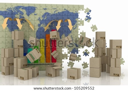 conception of world trade. 3d concept of logistic. - stock photo