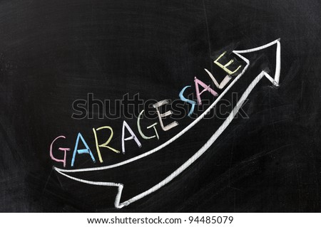 Conceptional chalk drawing - Garage sale - stock photo