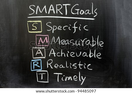 Conceptional chalk drawing - SMART Goals - stock photo