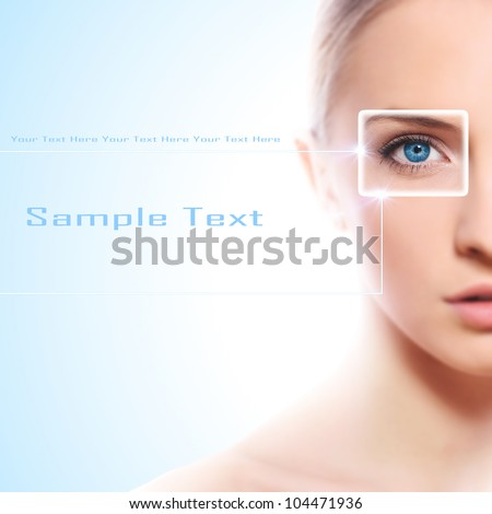 Conceptua shot of face with eye in the focus - stock photo