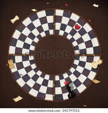Conceptual abstract background with chessboard - stock photo